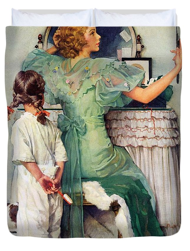 Dressing Tables Duvet Cover featuring the drawing Going Out by Norman Rockwell