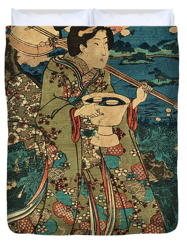 Party Duvet Cover featuring the painting Going To A Cherry Blossom Viewing Party by Utagawa Kunisada