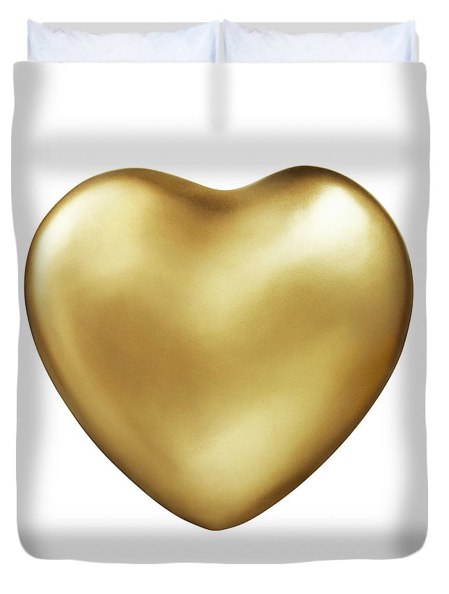 White Background Duvet Cover featuring the photograph Gold Heart by Lauren Nicole