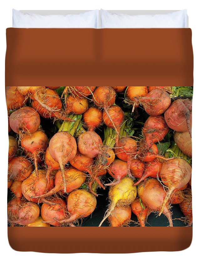 Orange Color Duvet Cover featuring the photograph Golden Beets At A Farmers Market by Bill Boch