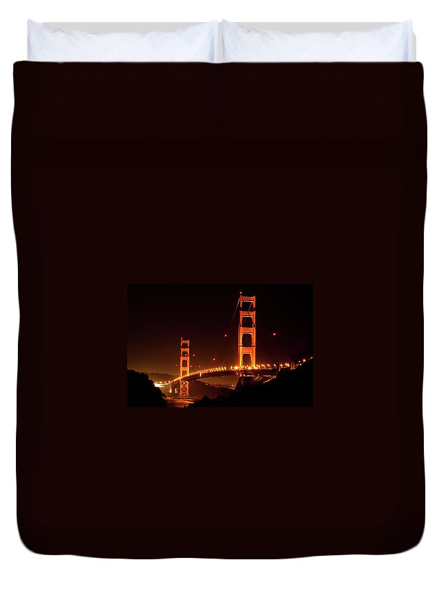 Scenics Duvet Cover featuring the photograph Golden Gate Bridge At Night by Imaginegolf