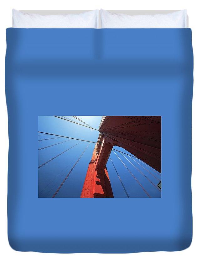 San Francisco Duvet Cover featuring the photograph Golden Gate Bridge Tower by Mortonphotographic