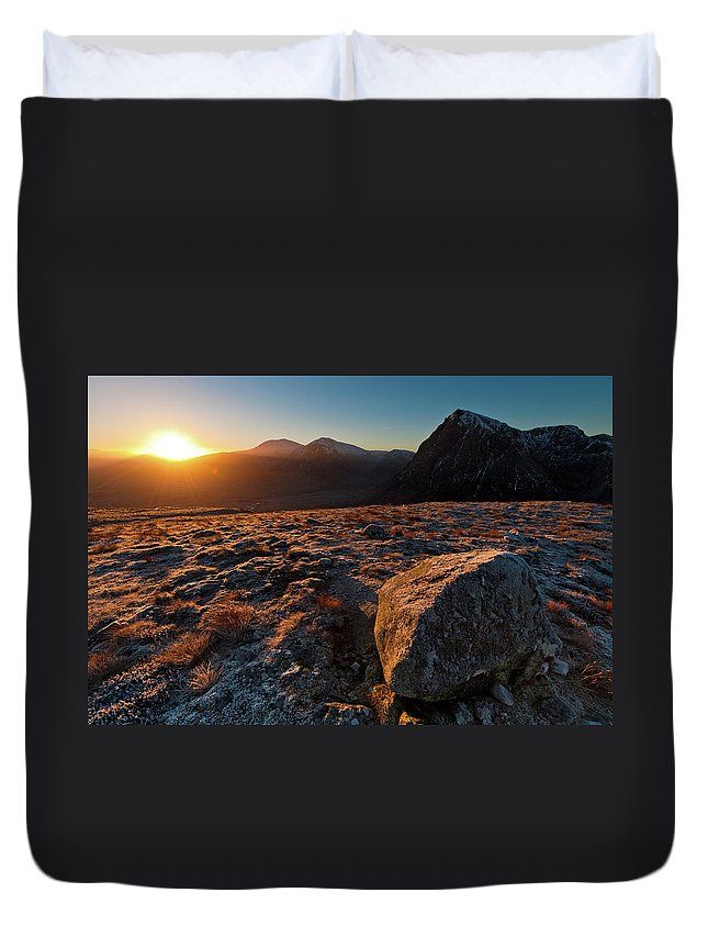 Rannoch Moor Duvet Cover featuring the photograph Golden Highland Dawn Glencoe Mountain by Fotovoyager