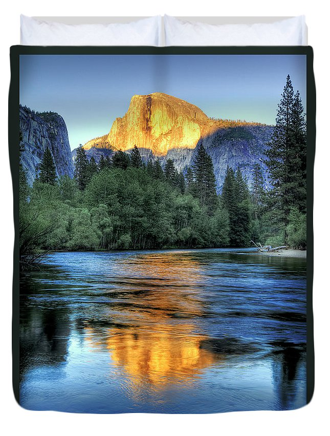 Scenics Duvet Cover featuring the photograph Golden Light On Half Dome by Mimi Ditchie Photography