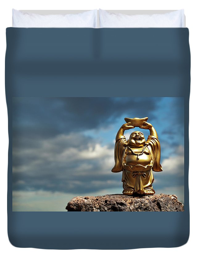 Chinese Culture Duvet Cover featuring the photograph Golden Prosperity Buddha by Wesvandinter