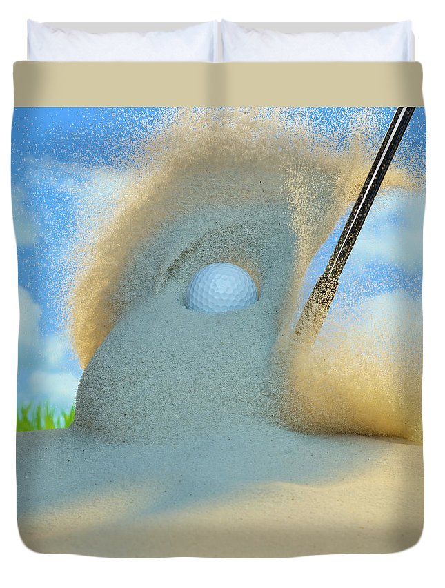 Drive Duvet Cover featuring the photograph Golf Ball Being Driven Out Of A Sand by Don Farrall