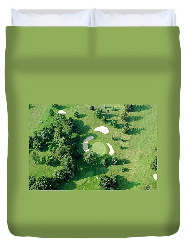 Sand Trap Duvet Cover featuring the photograph Golf Course Close Up From The Air by Groveb