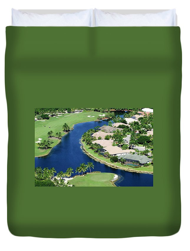 Recreational Pursuit Duvet Cover featuring the photograph Golf Course Community by Negaprion