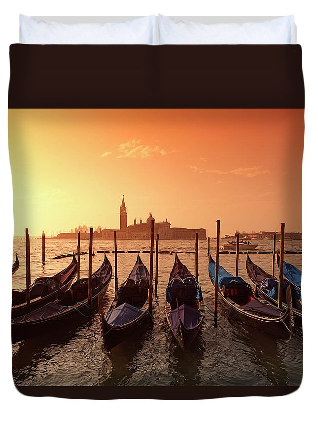 Scenics Duvet Cover featuring the photograph Gondolas And Saint George Major In by Massimo Pizzotti