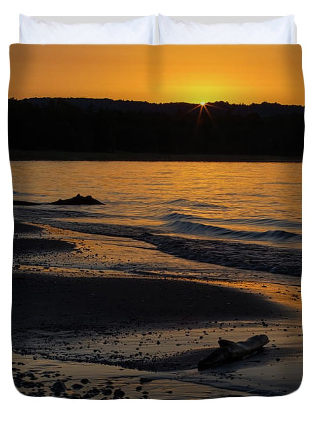 Sleeping Duvet Cover featuring the photograph Good Harbor Bay Sunset by Heather Kenward