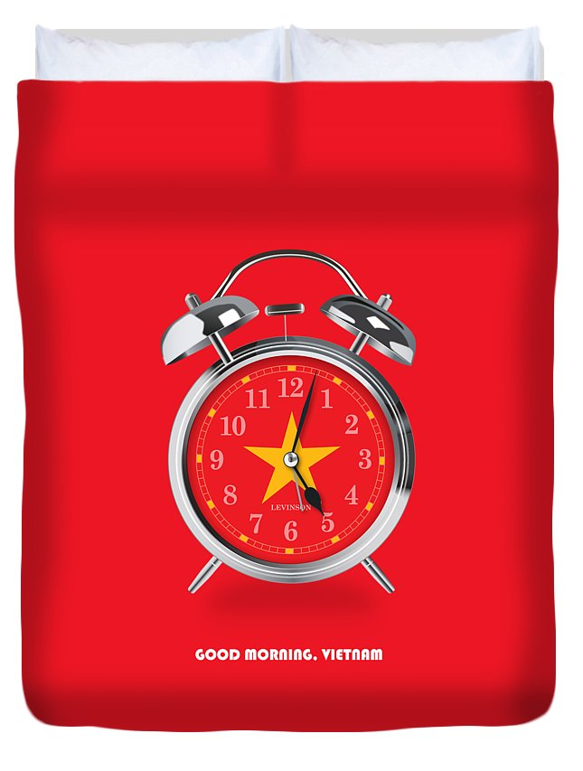 Good Morning Duvet Cover featuring the digital art Good Morning, Vietnam - Alternative Movie Poster by Movie Poster Boy