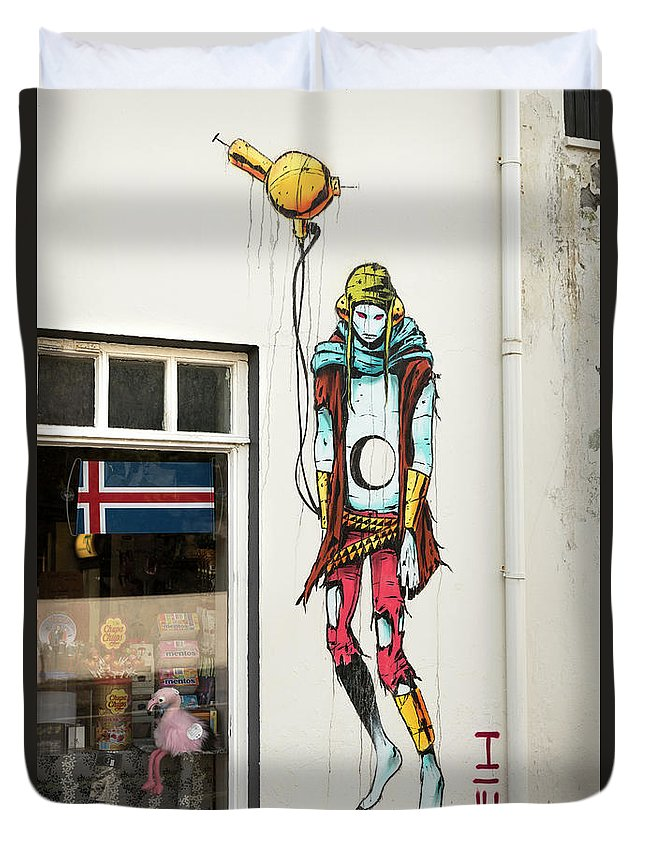 Iceland Duvet Cover featuring the photograph Graffiti By Deih In Reykjavik by RicardMN Photography