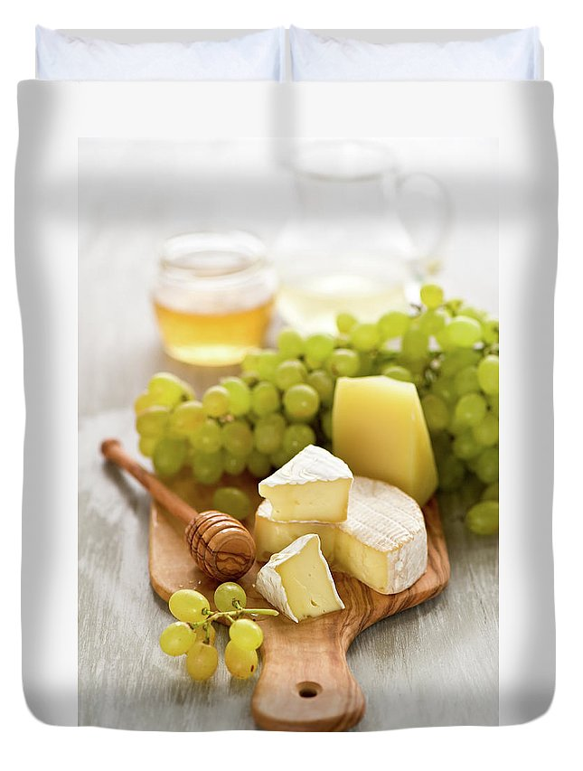 Cheese Duvet Cover featuring the photograph Grape, Honey And Cheese by Verdina Anna