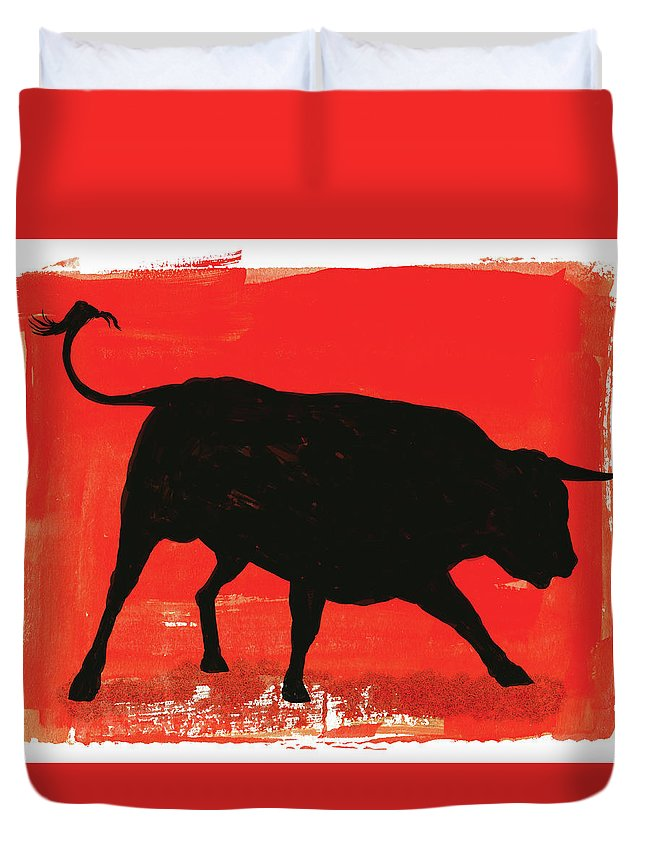 Bull Market Duvet Cover featuring the digital art Graphic Bull Illustration by Don Bishop