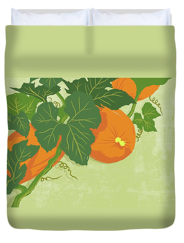 Part Of A Series Duvet Cover featuring the digital art Graphic Illustration Of Pumpkins by Don Bishop