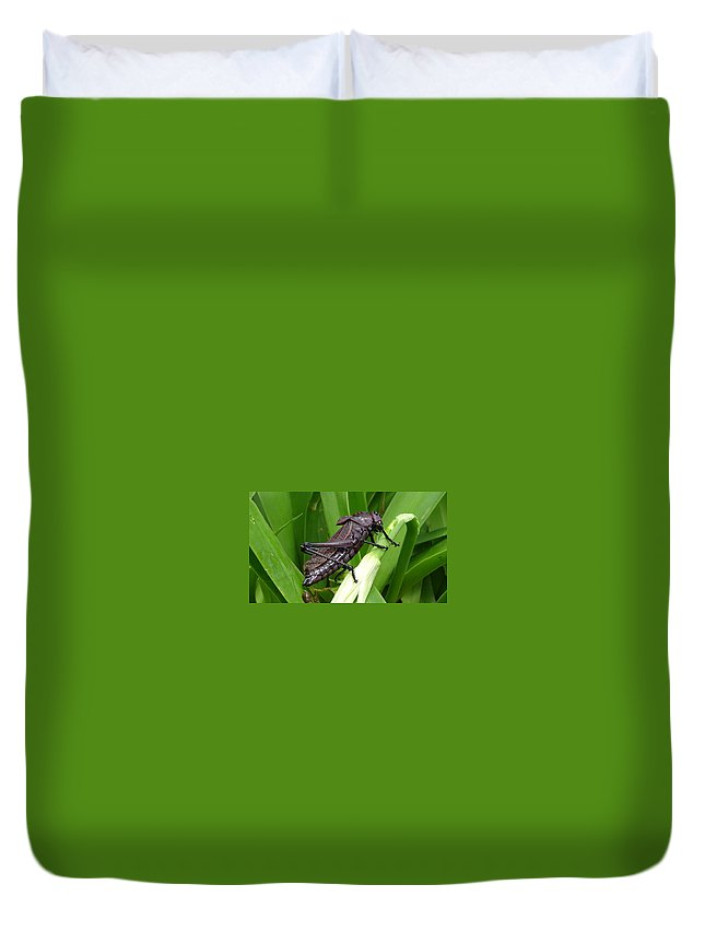 Duvet Cover featuring the photograph Grasshopper by Stanley Vreedeveld