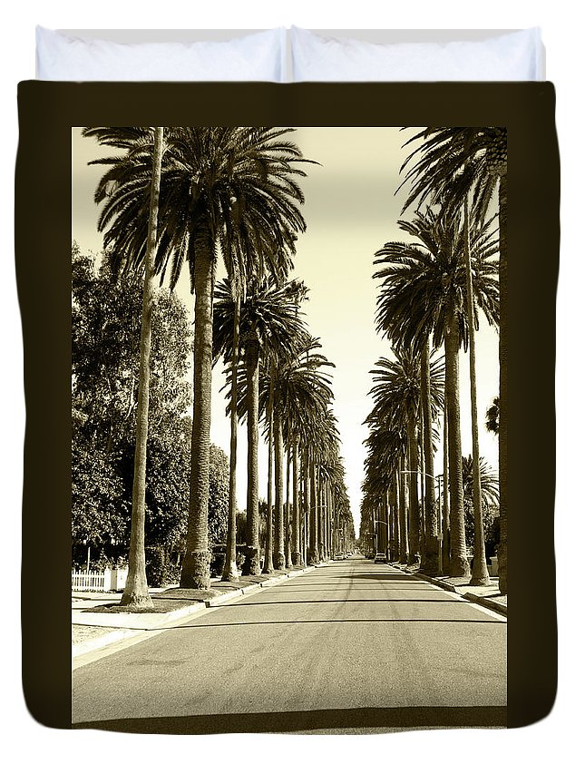 1950-1959 Duvet Cover featuring the photograph Grayscale Image Of Beverly Hills by Marcomarchi
