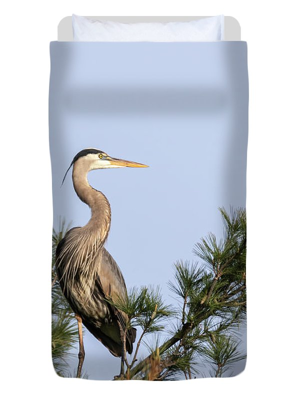 Great Blue Heron Duvet Cover featuring the photograph Great Blue Heron 2019-13 by Thomas Young