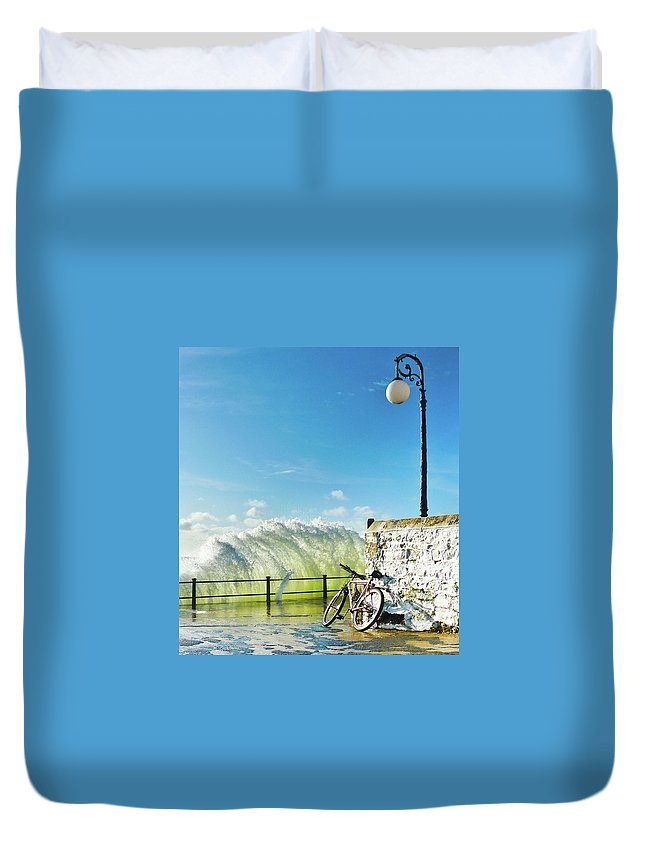 Leaning Duvet Cover featuring the photograph Great Place To Leave Your Bike by Copyright Ian Pacey
