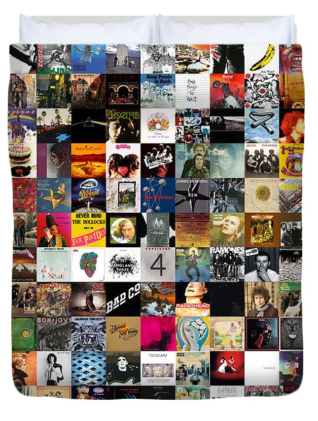 Album Covers Duvet Cover featuring the digital art Greatest Rock Albums of All Time by Zapista OU