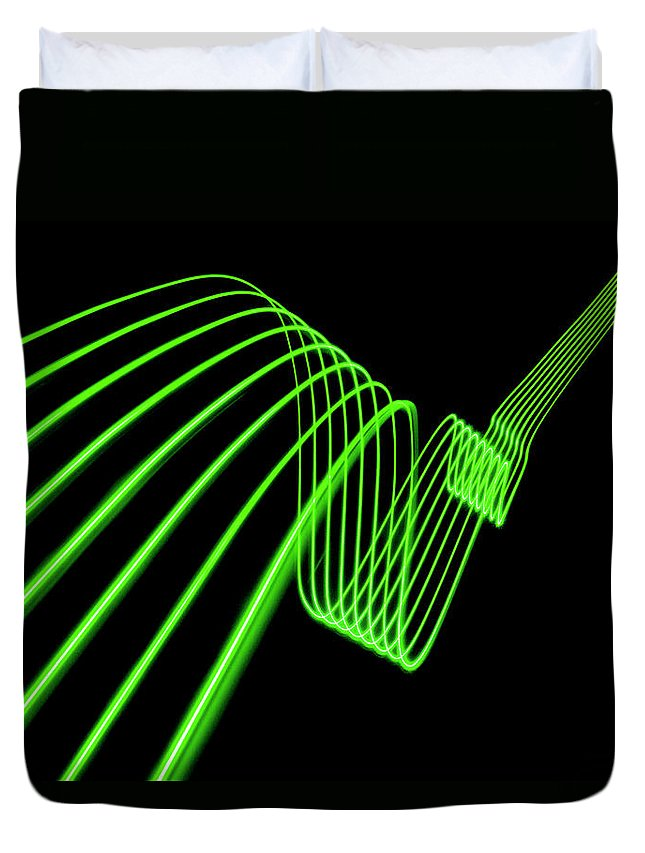 Laser Duvet Cover featuring the photograph Green Abstract Coloured Lights Trails by John Rensten