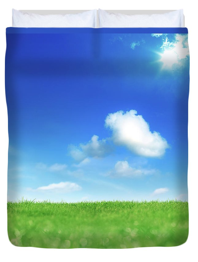Scenics Duvet Cover featuring the photograph Green And Blue by Imagedepotpro
