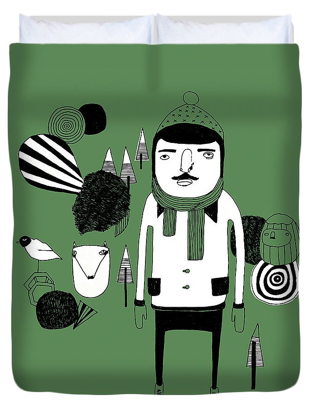 People Duvet Cover featuring the digital art Green Forest by Stine Kaasa Illustration