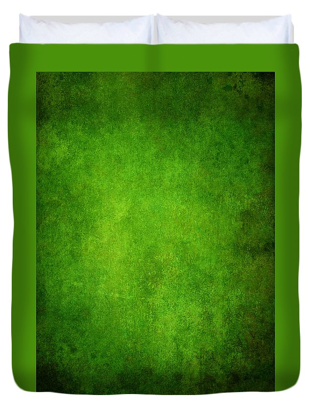 Stained Duvet Cover featuring the photograph Green Grunge Background by Mammuth