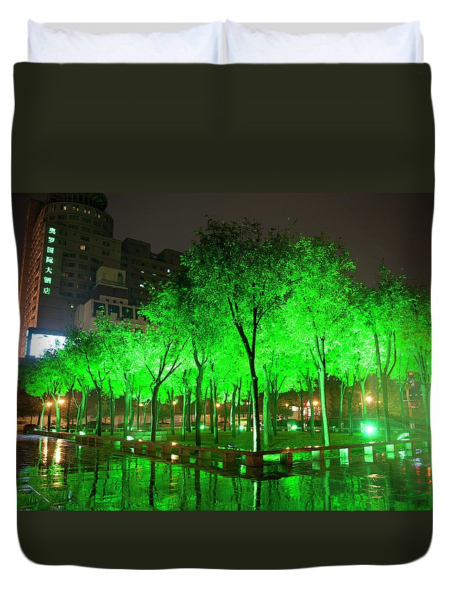 Outdoors Duvet Cover featuring the photograph Green Illuminated Trees, China by Shanna Baker