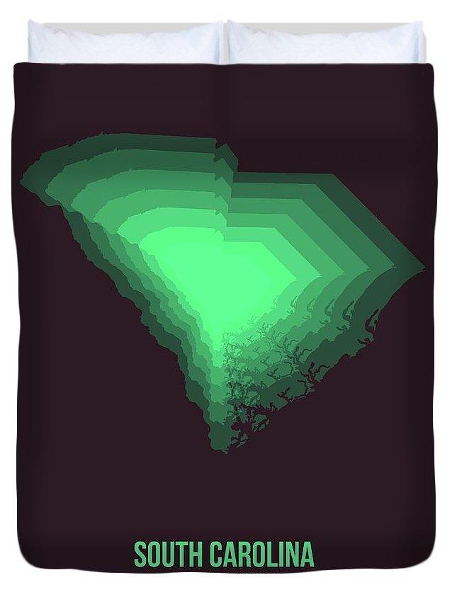 South Carolina Duvet Cover featuring the digital art Green Map Of South Carolina by Naxart Studio