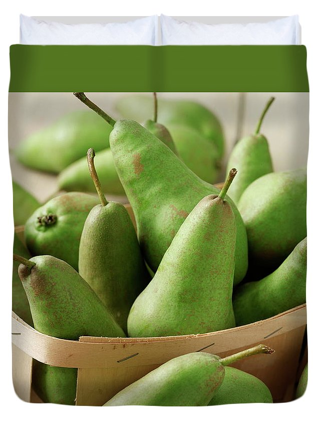 Fruit Carton Duvet Cover featuring the photograph Green Pears In Punnet And Wooden Table by Chris Ted