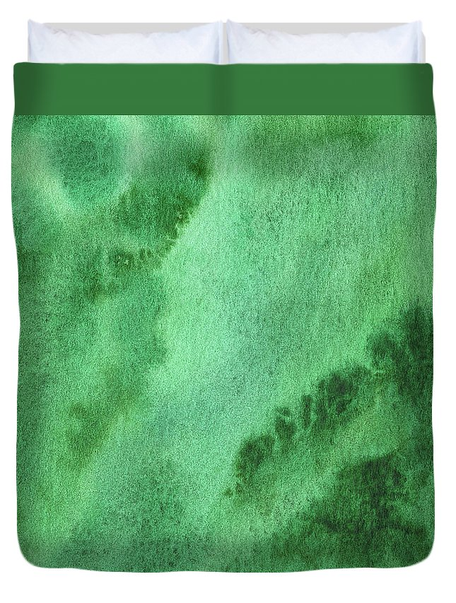 Abstract Duvet Cover featuring the painting Green Splashes And Glow Abstract Watercolor by Irina Sztukowski