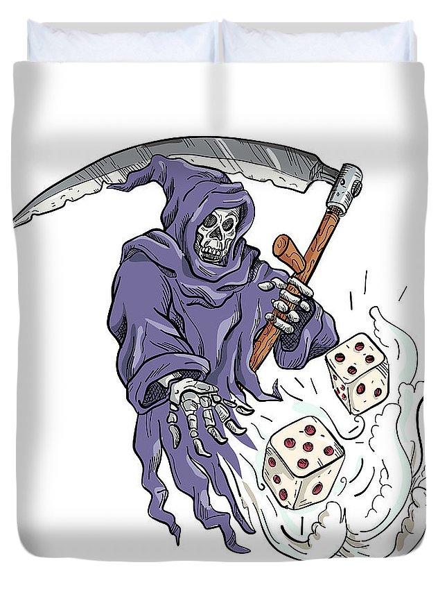 Drawing Duvet Cover featuring the digital art Grim Reaper Throwing The Dice Drawing Color by Aloysius Patrimonio