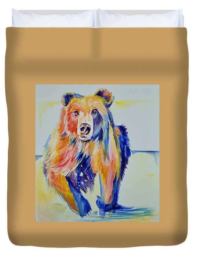 Original Duvet Cover featuring the painting Grizzly Sprint by Nickie Perrin Paintings