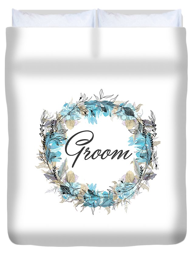 Groom Duvet Cover featuring the mixed media Groom by Mo T