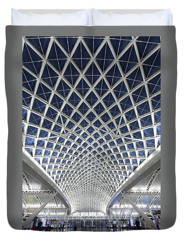 Chinese Culture Duvet Cover featuring the photograph Guangzhou Railway Station by Real444