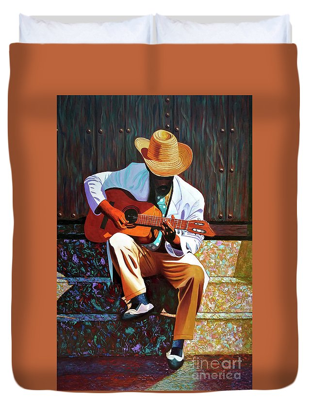 Cuban Duvet Cover featuring the painting Guitar player #3 by Jose Manuel Abraham