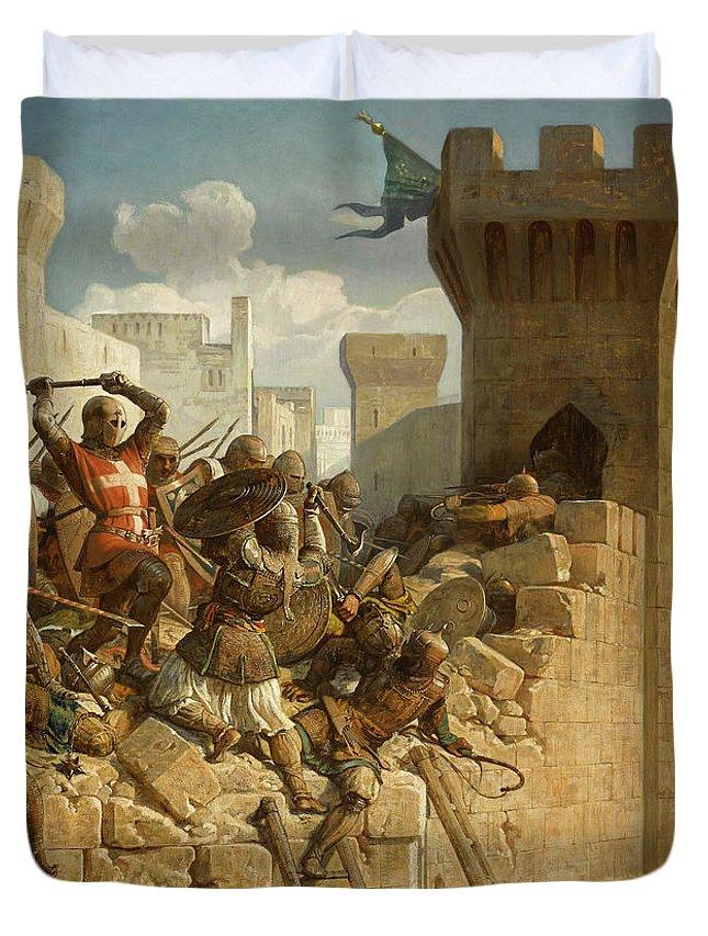 Papety Duvet Cover featuring the painting Guillaume De Clermont Defend La Ville D'acre by Dominique Papety