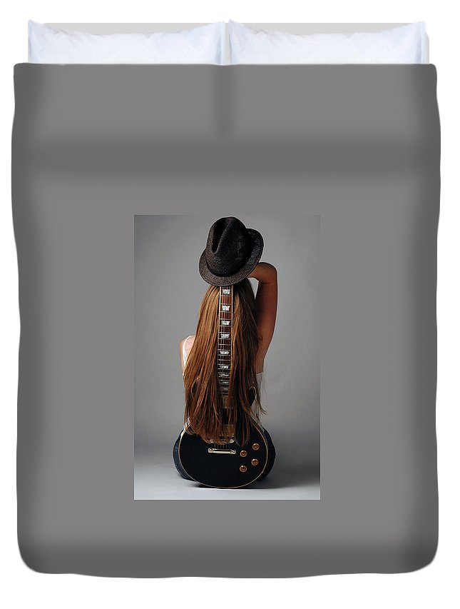 Human Arm Duvet Cover featuring the photograph Guitar Shaped Body by Image Taken By Mayte Torres