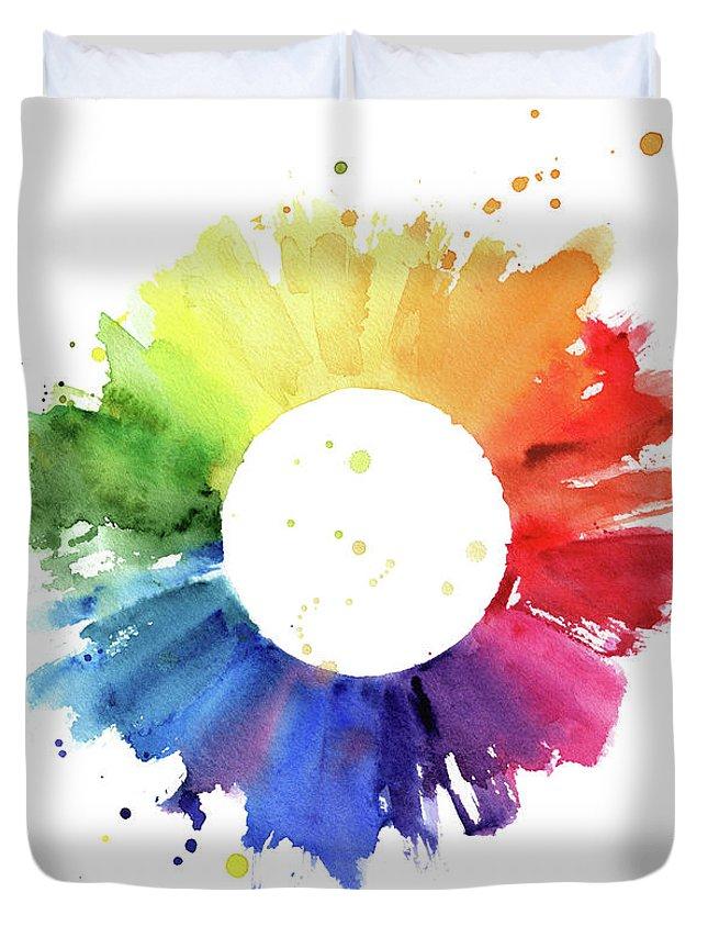 Art Duvet Cover featuring the digital art Handmade Color Wheel by Azurhino