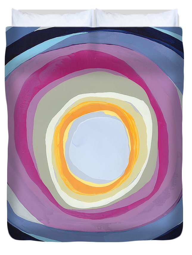 Abstract Duvet Cover featuring the painting Hang Cool by Claire Desjardins