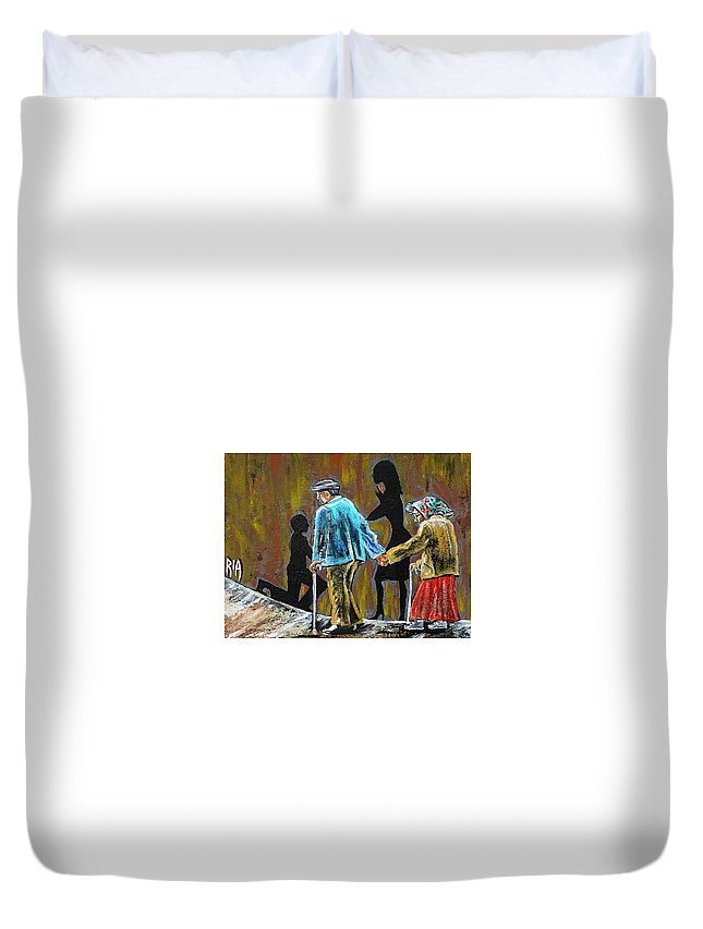 Love Duvet Cover featuring the painting Happiness Happened by Artist RiA
