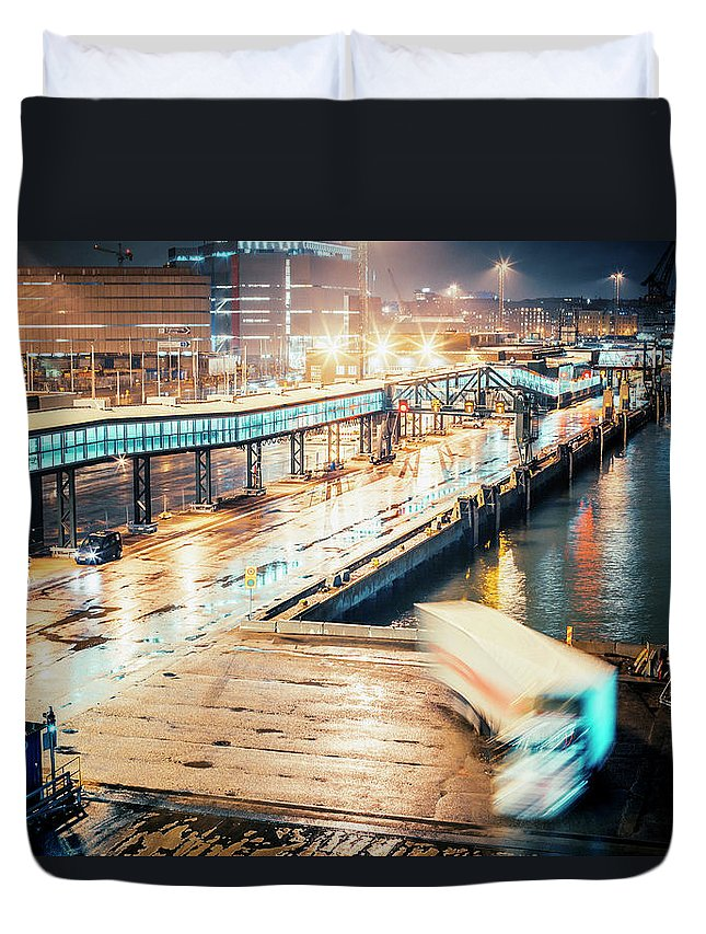 Industrial District Duvet Cover featuring the photograph Harbor Area by Peeterv