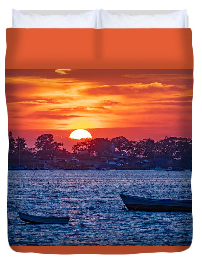 Harpswell Duvet Cover featuring the photograph Harpswell Sunset by Richard Plourde
