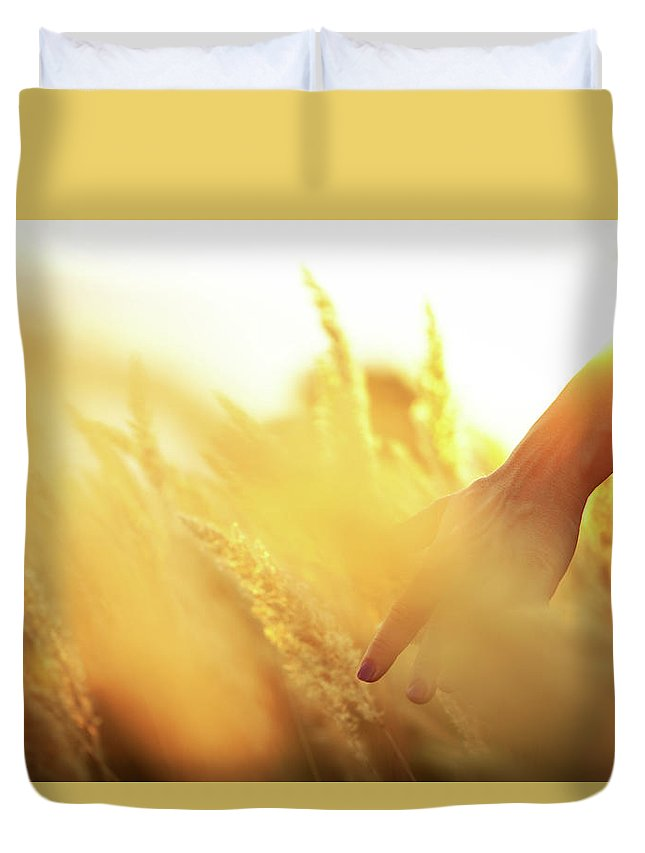 Farm Worker Duvet Cover featuring the photograph Harvest In The Morning by Aleksandarnakic