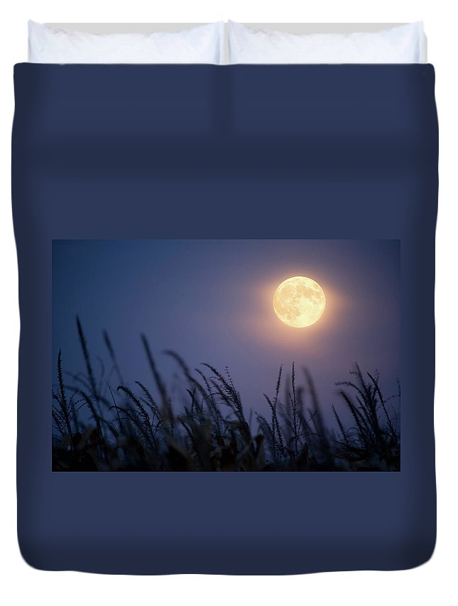 Sky Duvet Cover featuring the photograph Harvest Moon by Jimkruger