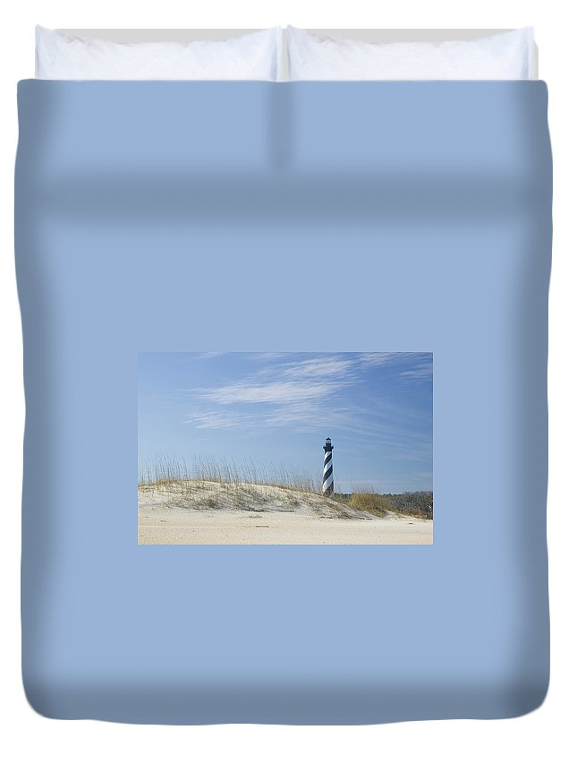 North Carolina Duvet Cover featuring the photograph Hatteras Lighthouse And The Dunes by Myhrcat