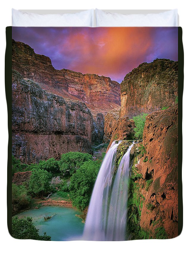 America Duvet Cover featuring the photograph Havasu Falls by Inge Johnsson