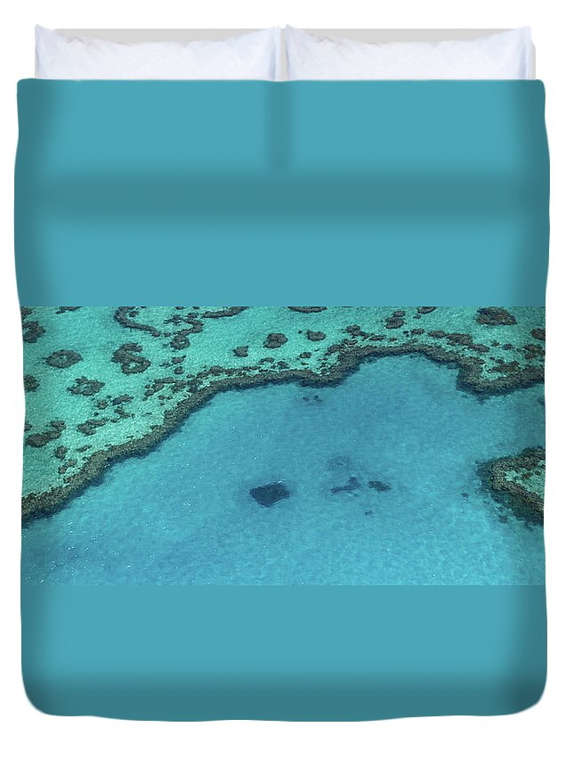 Panoramic Duvet Cover featuring the photograph Heart Reef, Great Barrier Reef by Francesco Riccardo Iacomino