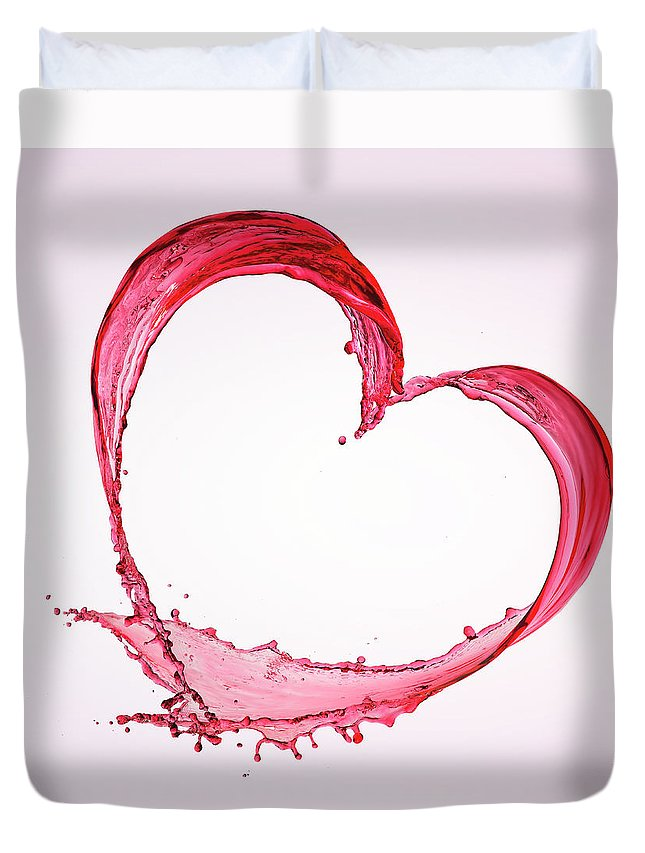 Purity Duvet Cover featuring the photograph Heart Shape Of Red Splash Water by Biwa Studio